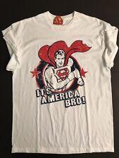 New DC Comics Superman It's America Bro White Shirt Size Large Delta