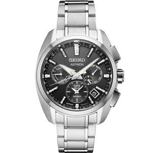 New Seiko Astron GPS Solar Titanium Black Dial Men's Watch SSH067