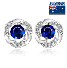 Wholesale 925 Sterling Silver Filled Blue Zircon Crystal Flower Stud Earrings