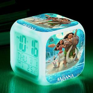 Fun Disney Moana Figures 7 Color Changing Night Light Alarm Clock Kids Toy Gift