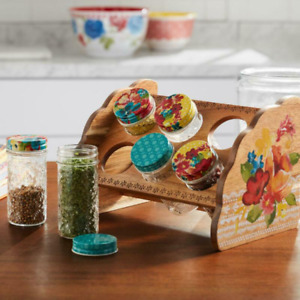 New The Pioneer Woman Wildflower Whimsy Six Jar Spice Rack FREE SHIPPING!