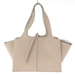 Auth CELINE Tri-Fold Small Beige Leather Womens Tote Bag