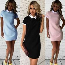 Summer Women Short Sleeve Office Bodycon Evening Party Cocktail Mini Dress HF