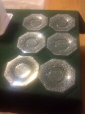 """Vintage Clear Glass - Lot of 6 Dessert Plates 6"""" Diameter - Pebble Etched Style"""