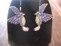 zuckersüße Ohrringe Stecker Kolibri 925er Silber Emaille Hummingbird Earrings