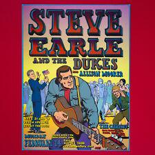 Steve Earle and the Dukes Original 2005 Concert Poster. Santa Cruz Ca.