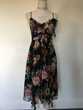 KAREN MILLEN SILK FLORAL OCCASION DRESS SIZE 10 WEDDING GUEST
