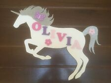 Personalised Wooden Name Plate Children Door or Wall Sign White Unicorn