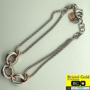 BRAND NEW ITALIAN STERLING SILVER BRACELET,ROSE GOLD&SILVER HOOP CENTRE-FREE P&P