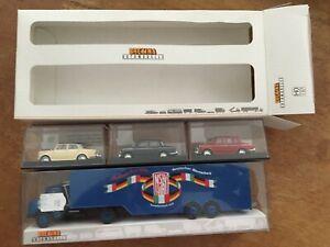1/87 Brekina MB ls 322 porte auto + 3 fiat 1100