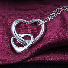 """DOUBLE HEART NECKLACE .925 STERLING SILVER 18"""" CABLE CHAIN"""