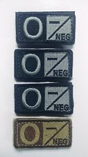 4 ea Blood Type Group Patches O- NEG Negative Tactical Tab Silver/Black, Coyote