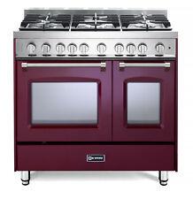 "Verona Prestige Vpfsgg365Dbu 36"" All Gas Range Double Oven 5 Burner Burgundy"