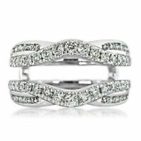2.60 Ct Round-Diamond Solitaire Enhancer Guard Wrap Ring 14K White Gold Finish