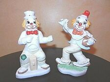 Pair of Clown Figurines McCrory 1994 White w/ Bright Accent Colors & Polka Dots