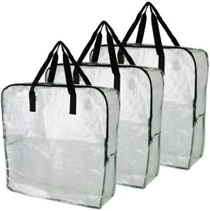 3x IKEA DIMPA Extra Large Storage Bag Clear Reusable Bags Moth & Moistures Proof