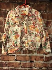 Alfred Dunner Womens Jacket Floral Tan Orange Red Green Yellow Button Down Sz 14