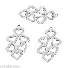50 Pendentifs Breloques Creux Coeur Acier Inoxydable Accessoires 29x16mm