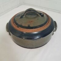 Art Pottery Covered Dish Hand Thrown Gray/Blue Glaze Lidded Handled Artist Sign
