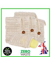 Eco Friendly Natural Sisal Soap Bag Soap Saver Mesh Exfoliator Foaming Pouch UK
