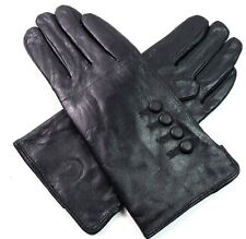 Ladies Womens Premium Super Soft Real Leather Gloves Winter Driving Fur Lined Black Medium