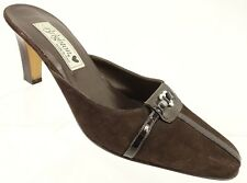 """BRIGHTON WANDA Mule Heel Shoes Women's 6.5 M Brown Suede Leather 3.25"""" Heel"""