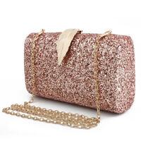 Women Evening Bags Sparkling Envelope Clutch Handbag Purse Glitter Sequins Leaf