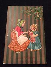 Vintage Christmas Postcard Child Doll Tree Pretzel Candles Germany
