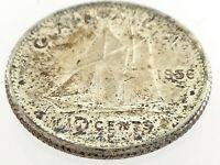 1956 Canada Ten 10 Cent Silver Dime Canadian Uncirculated Elizabeth II Coin M091