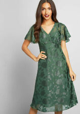 ModCloth  Anna Sui Vision of Bliss Floral Green Dress Size 6  (B90)