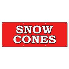 SNOW CONES FOOD FAIR TRUCK RESTAURANT CART 2 ft x 4 ft Banner Sign w/4 Grommets