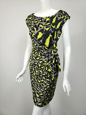 DIANE VON FURSTENBERG Della Gray Black Lime Print Silk Jersey Tie Waist Dress 4