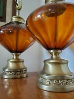 1 Vintage Mid Century Modern Optic Amber Glass Saucer & Brass Table Lamp * 30.5""
