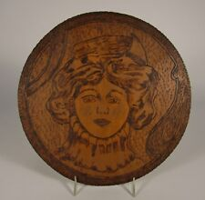 Vintage 1912 GIBSON GIRL Pyrography Folk Art Wood Plaque