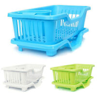 Kitchen Sink Dish Plate Utensil Drainer Drying Rack Holder Basket Organize O8J2