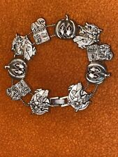 House, Pumpkin Charms Silver Vintage Halloween European Slide Bracelet-Witch,