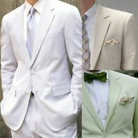 Men's Summer Breathable Seersucker Suits Two Pieces Leisure Wedding Formal Suits