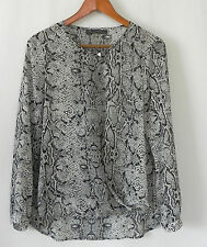 Rose & Olive Top Poly Chiffon Long Sleeve Faux Wrap Hi-Low Size M