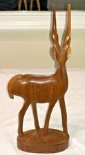 "New listing African Kenya Vintage Hand Carved Wooden Antelope Gazelle 12.5x4.5"" Sticker Euc"