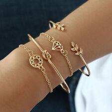Women 4Pcs/set Yellow Gold Filled Leaf Diamond Knot Shape Chain Bangle Bracelet