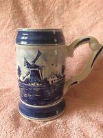Delft Blue Large Hand Painted Tankard 1.5 Pints Vintage