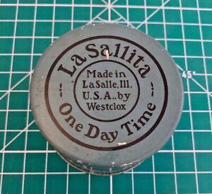 Vintage La Sallita One Day Time Westclox Tin Very Rare! (J3#9)