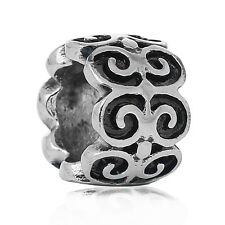 One Pattern Spacer European Charm Large hole Bead. Stainless Steel.  C218