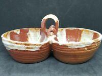 1953 Pinecroft Redware Studio Art Dish, Brown with White Drip Glaze, Canada