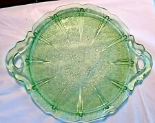 Vintage Green Cherry Blossom  Depression Glass Tray 10 inches