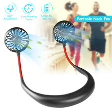 Portable USB Rechargeable Neckband Neck Hanging Dual Cooling Little Fan Personal