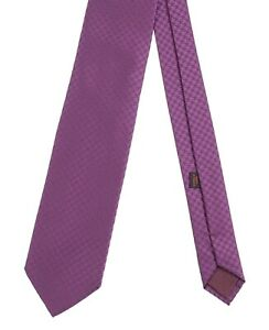 Charvet Made in FRANCE Purple Houndstooth Woven Satin 100% Silk Tie