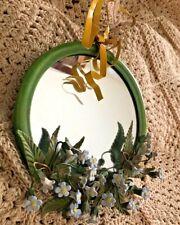 Vintage Petite Choses Wall Mirror Green Metal Ceramic Flowers Round w Bow