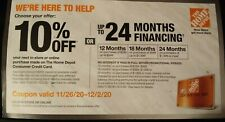 HOME DEPOT Coupon10% Off or 24mths. 0% Financing with Card til 12/2/20