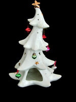 "Formalities Baum Bros White Porcelain 11.5"" Christmas Tree Candle Holder"